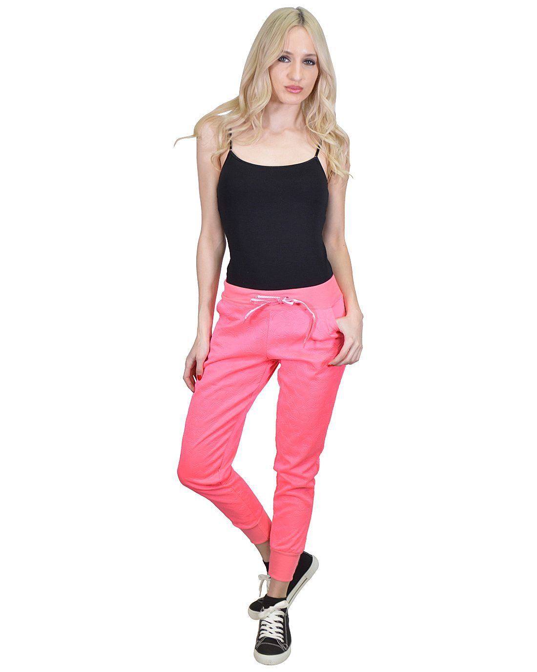 Ankle Length Heart Embossed Jogger Pants with Ribbed Hems and Slant Pockets-id.31158a