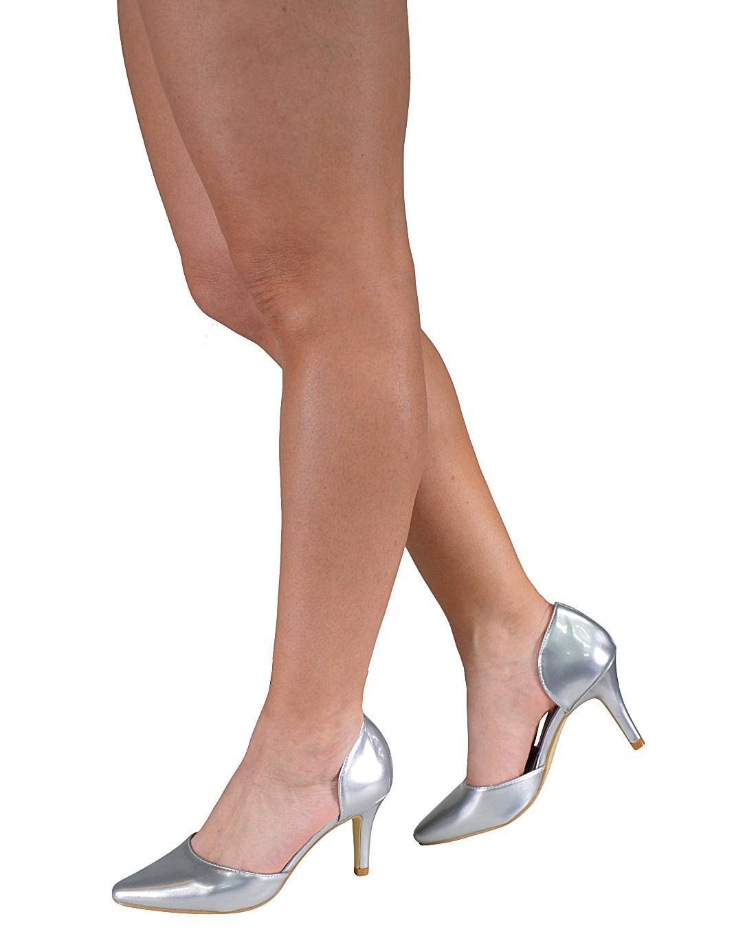 Cut-out Sides Mid High Heel Pointed Toe Pumps-id.31215a