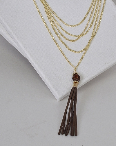 Layered Chain Necklace with Tassel-id.31491