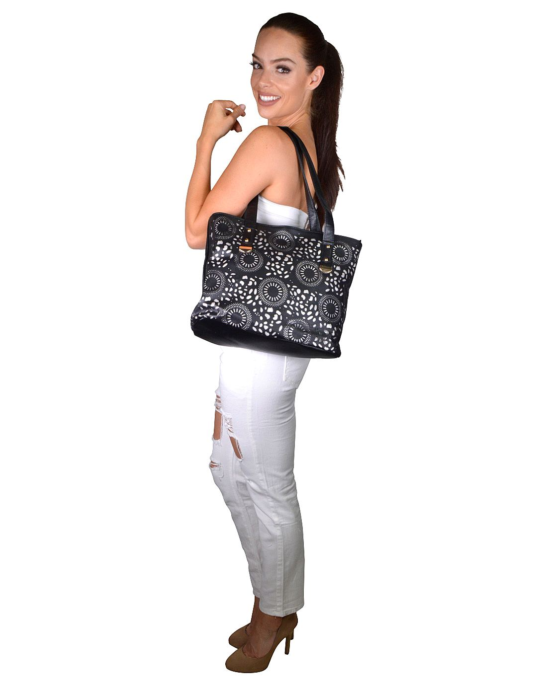 Cut Out Double Strap Tote Bag - id.31724a