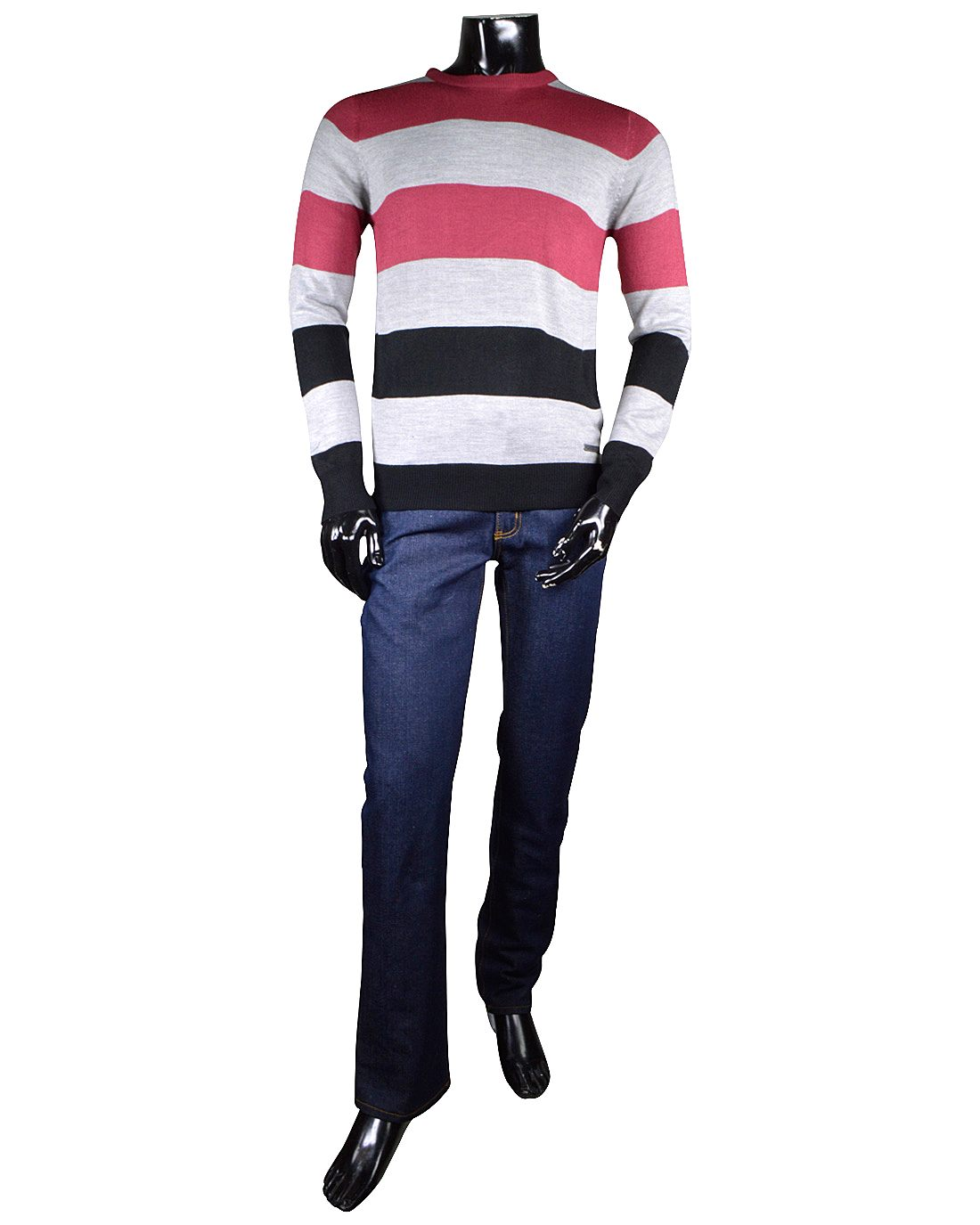 Crew Neck Sweater with Stripe Pattern-id.32537a