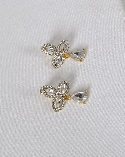 Marquise and Tear Drop Shaped Crystal Studded Drop Earrings-id.32894