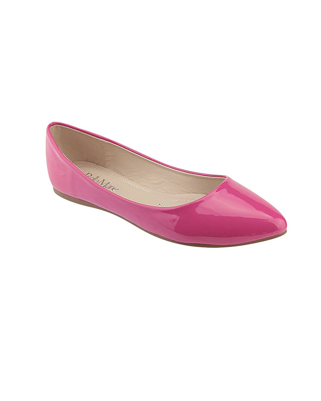 Pointed Toe Glossy Texture Flats-id.33147d