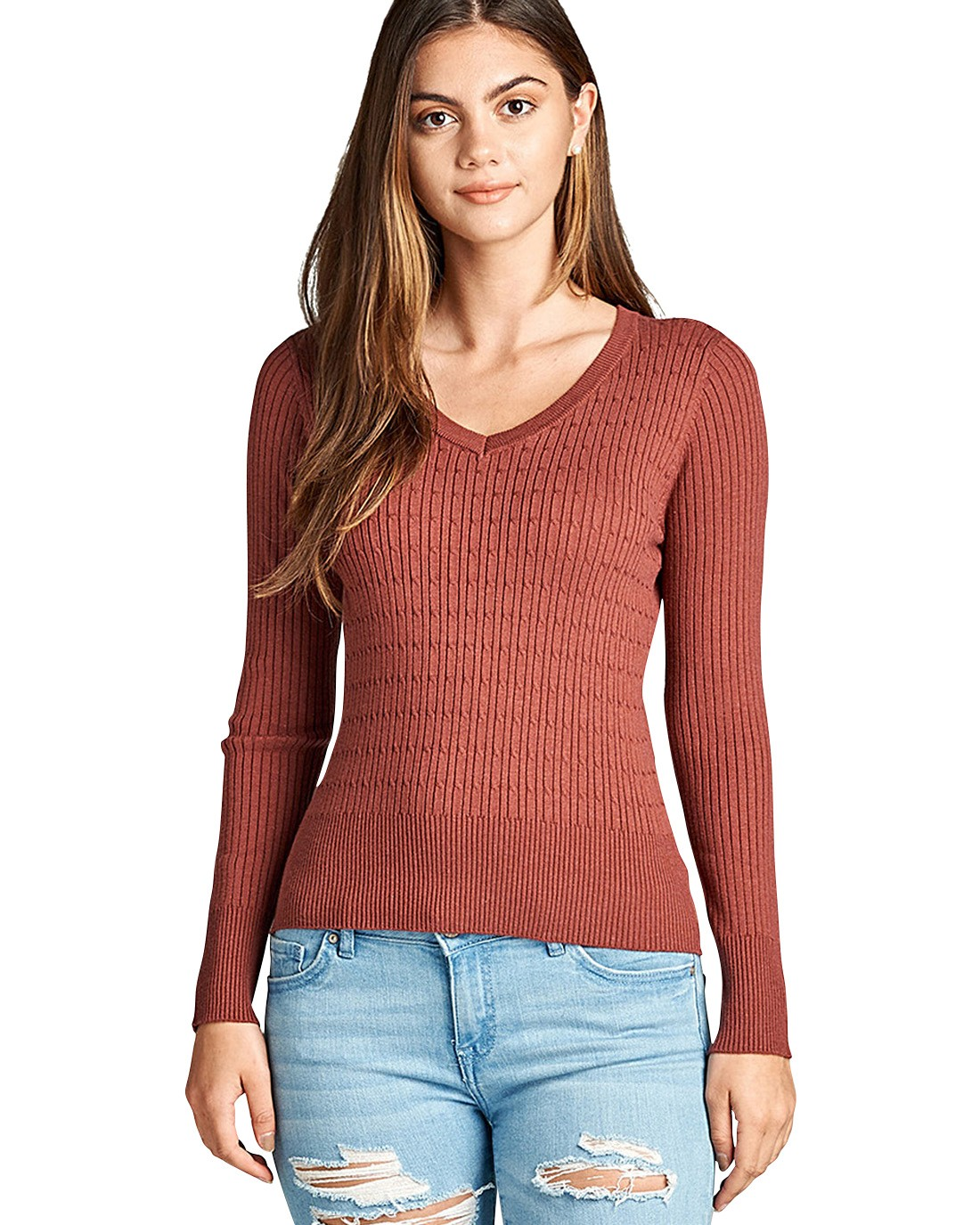 A ribbed knit top featuring a marled pattern. a V-neckline. long sleeves. and a form-fitting silhouette-id.33669c