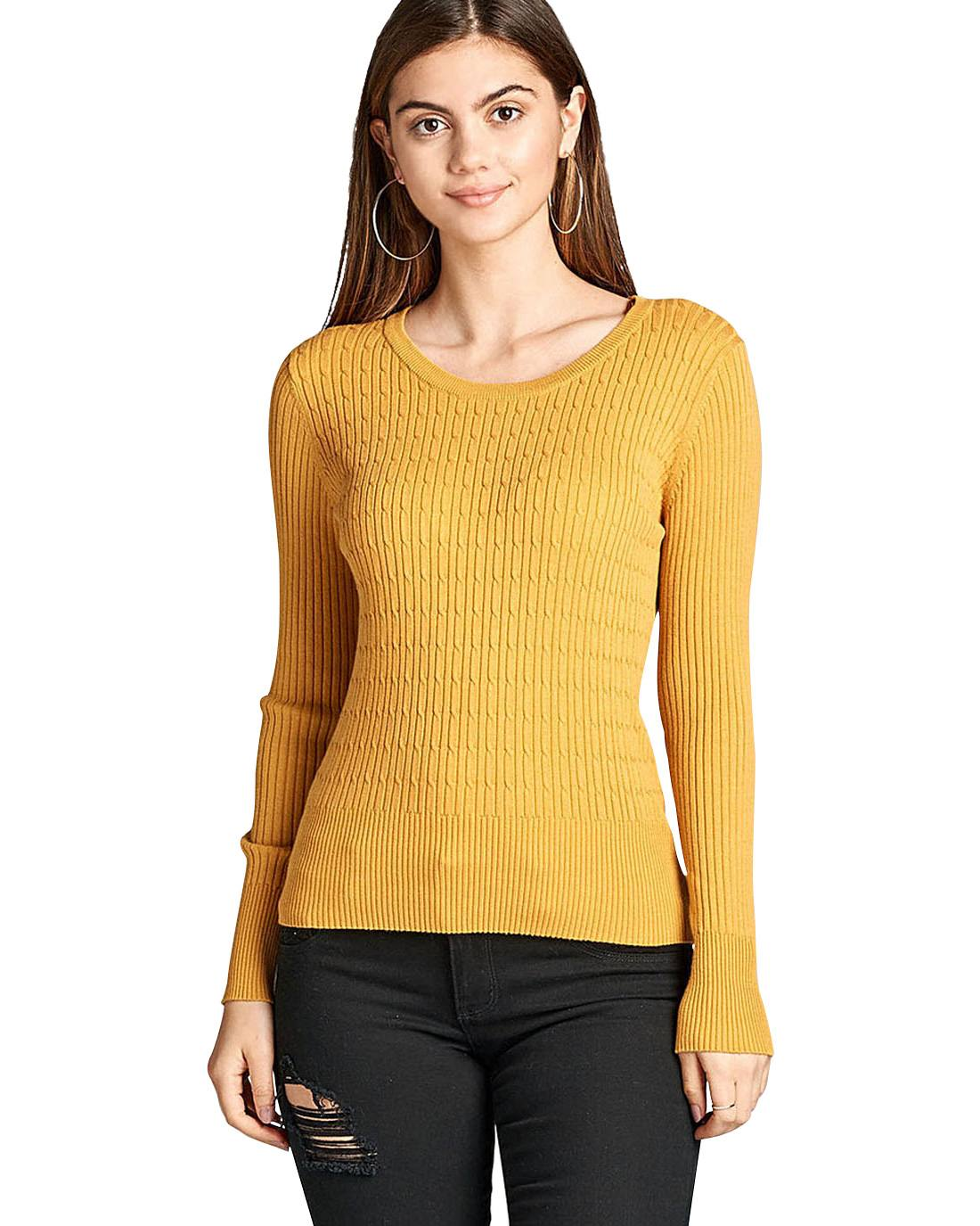 Ladies fashion ribbed knit top, round neckline, long sleeves, and a form-fitting silhouette-id.33698d