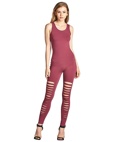 Ladies fashion sleeveless stretch-knit jumpsuit with a scoop neckline and back-id.33703b