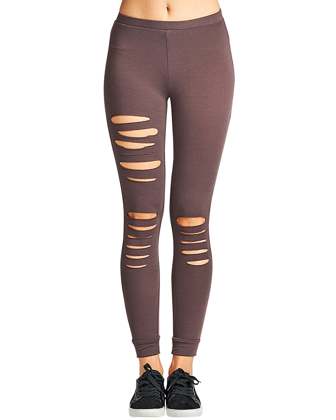 Ladies fashion pair of stretch-knit leggings featuring a ripped design and an elasticized waist-id.33790c