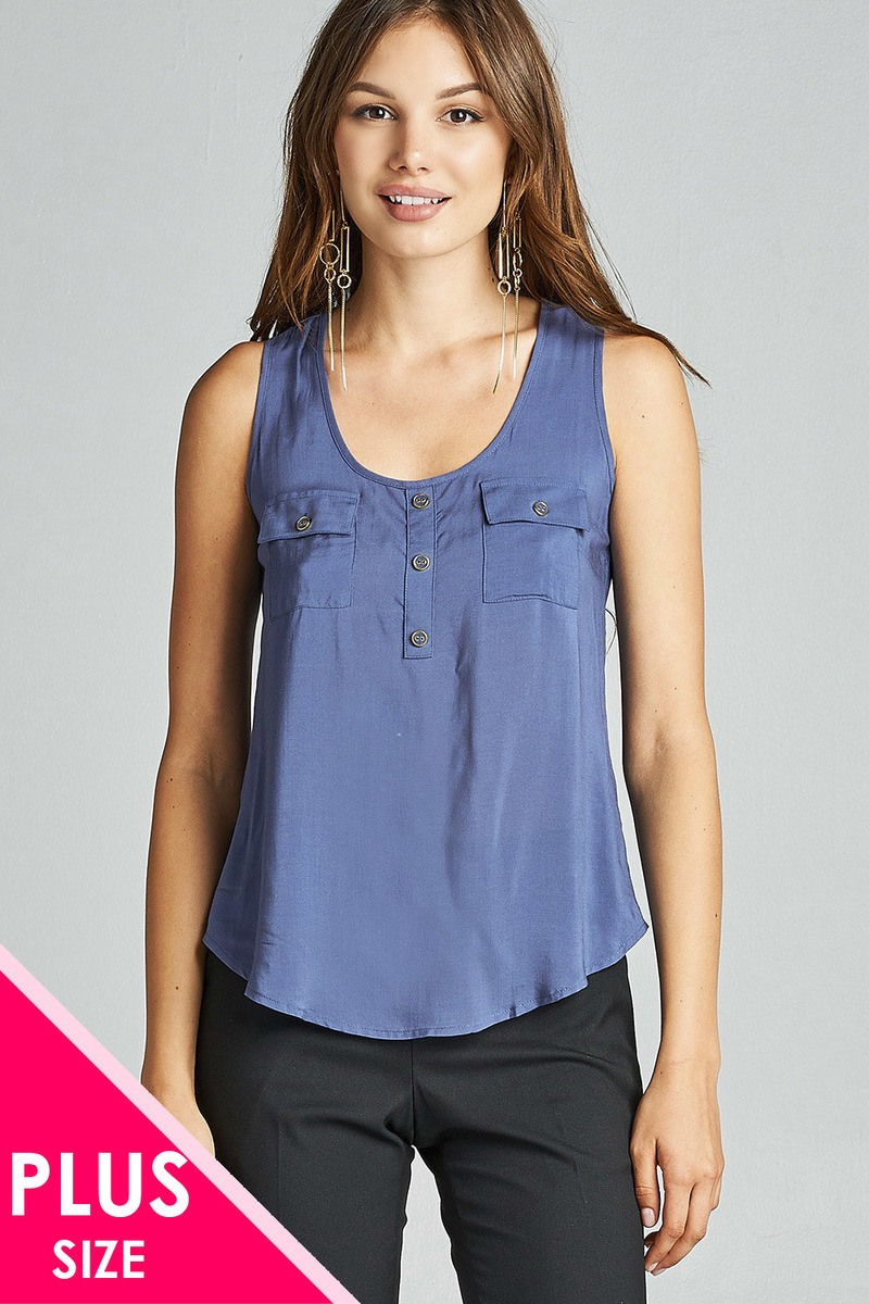 Plus size fashion sleeveless woven top featuring a round neckline. and flap pockets. with dolphin hem-id.33841m