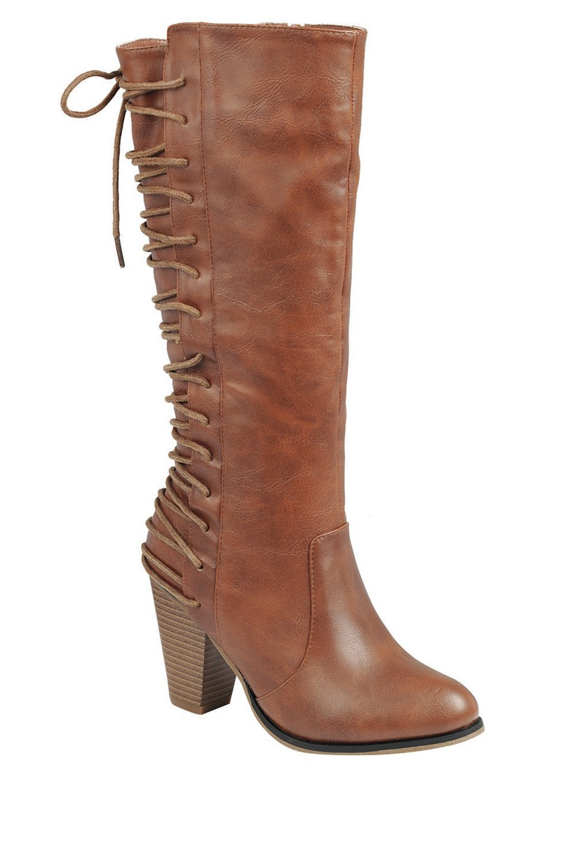 Ladies fashion knee-high boot. closed round toe. block heel. zipper closure. with lace up-id.34024a