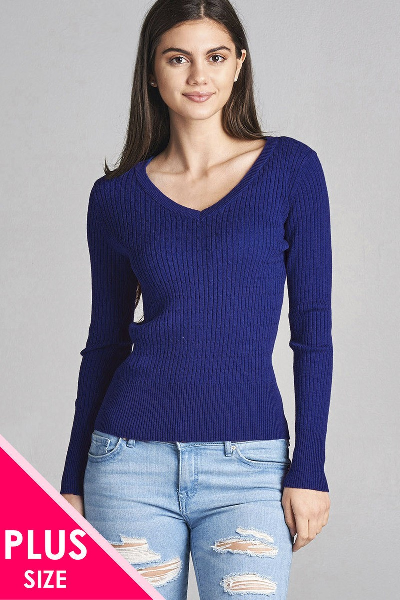 Plus size long sleeve v-neck cable knit classic sweater-id.34029g