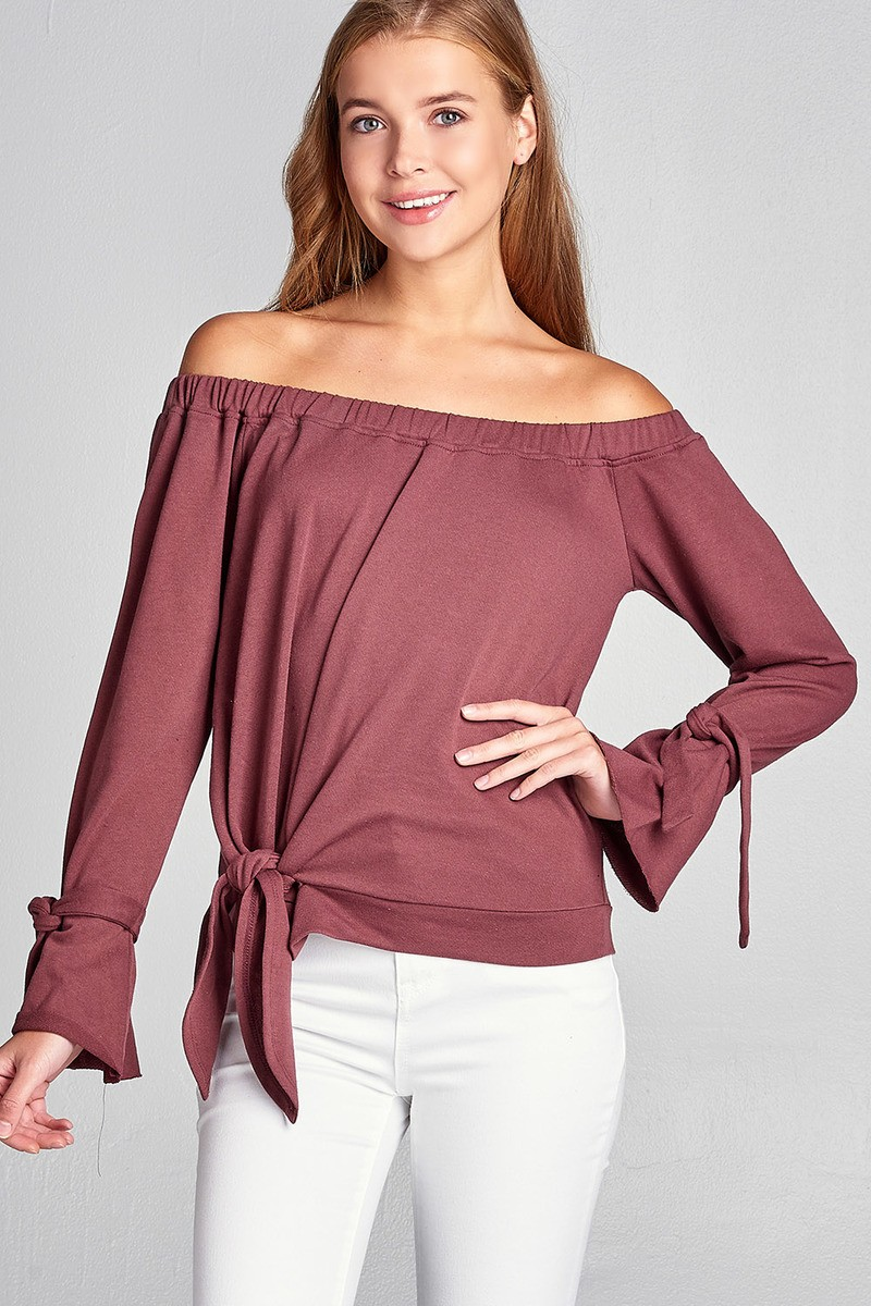 Ladies fashion off the shoulder tie-front french terry top-id.34090c