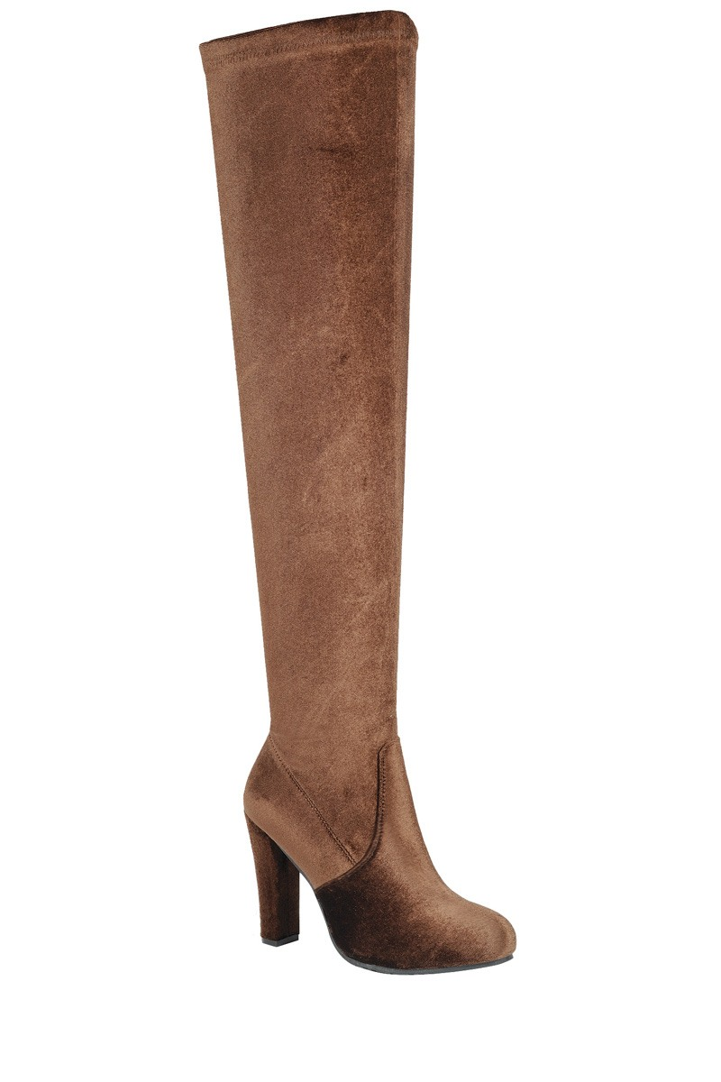 Ladies fashion velvet over-the-knee boot. closed almond toe. block heel. zipper closure-id.34111a