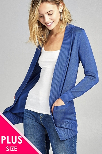 Ladies fashion plus size long sleeve rib banded open sweater cardigan w/pockets-id.34548l