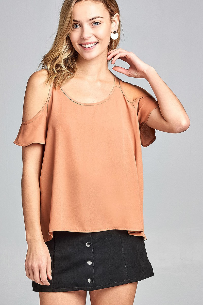 Ladies fashion open shoulder short sleeve wool dobby top-id.34642b