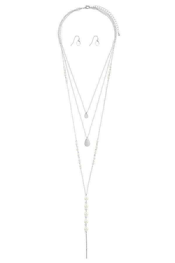 Linear bar accent faux pearl layer necklace set-id.34660