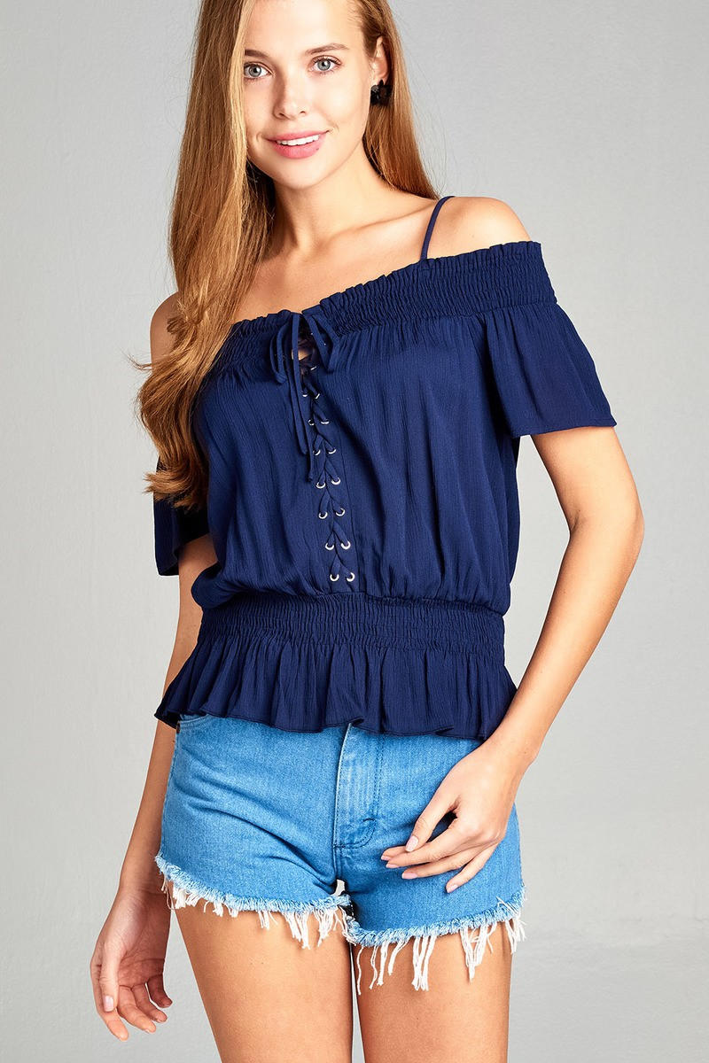 Ladies fashion short sleeve open shoulder smocked detail w/eyelet woven top-id.34991c