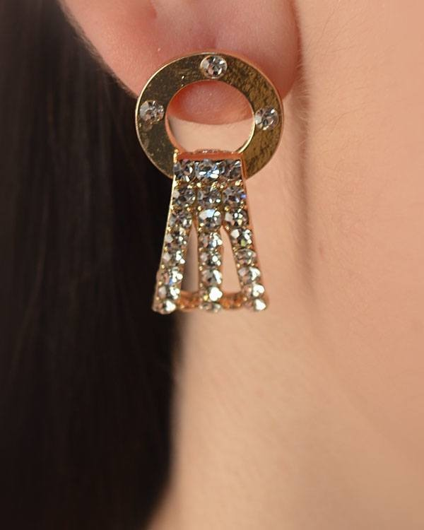 Open Circle Dangle Earrings with Crystal Studded Panel-id.CC29254