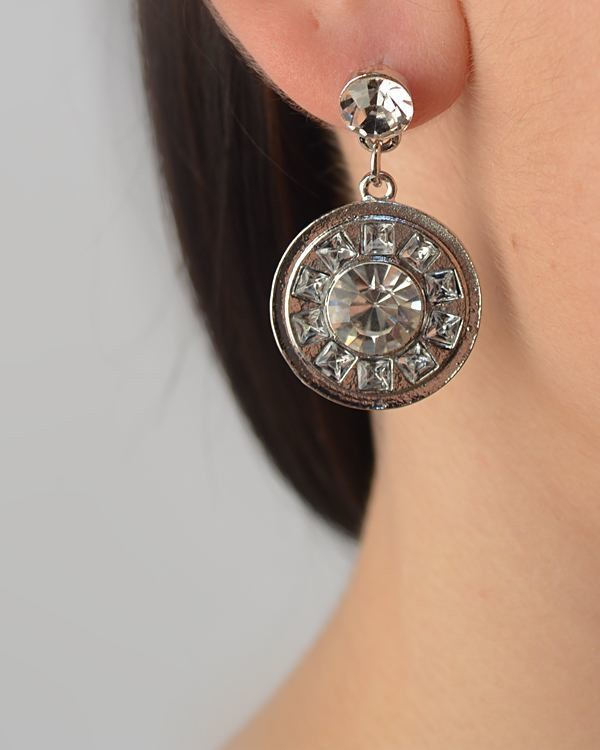 Crystal Studded Circle Drop Earring-id.CC29368
