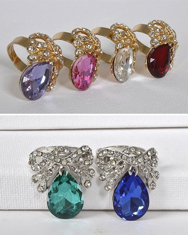 Crystal and Stone Studded Adjustable Ring-id.CC31315