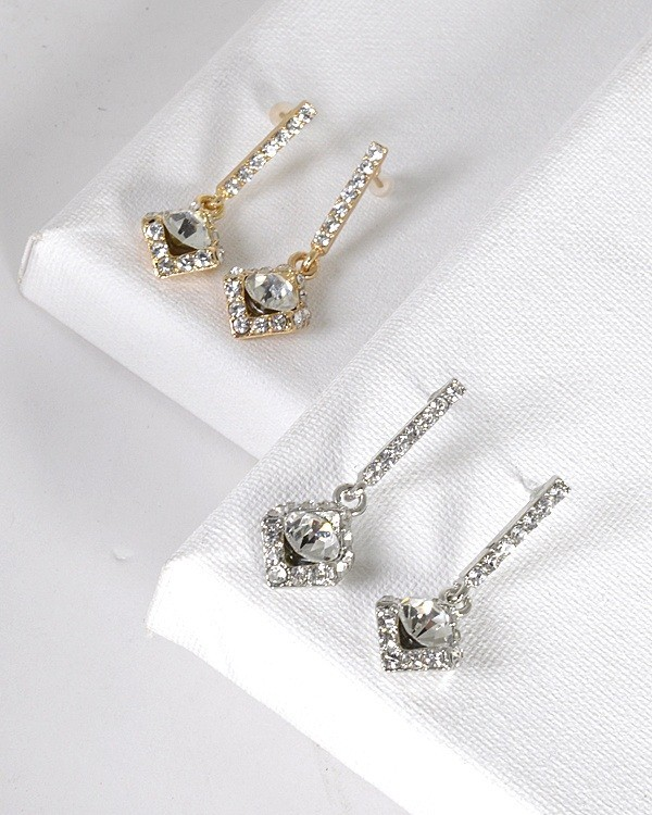 Crystal and Stone Studded Rhombus Shaped Drop Earrings-id.31494
