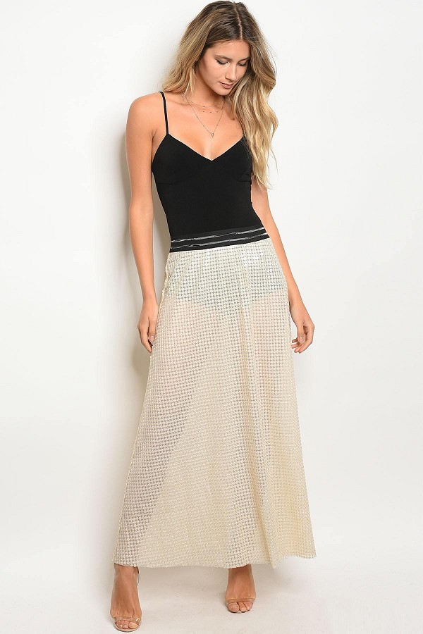 Ladies lining and sequin details sheer line maxi cut skirt-id.CC33884