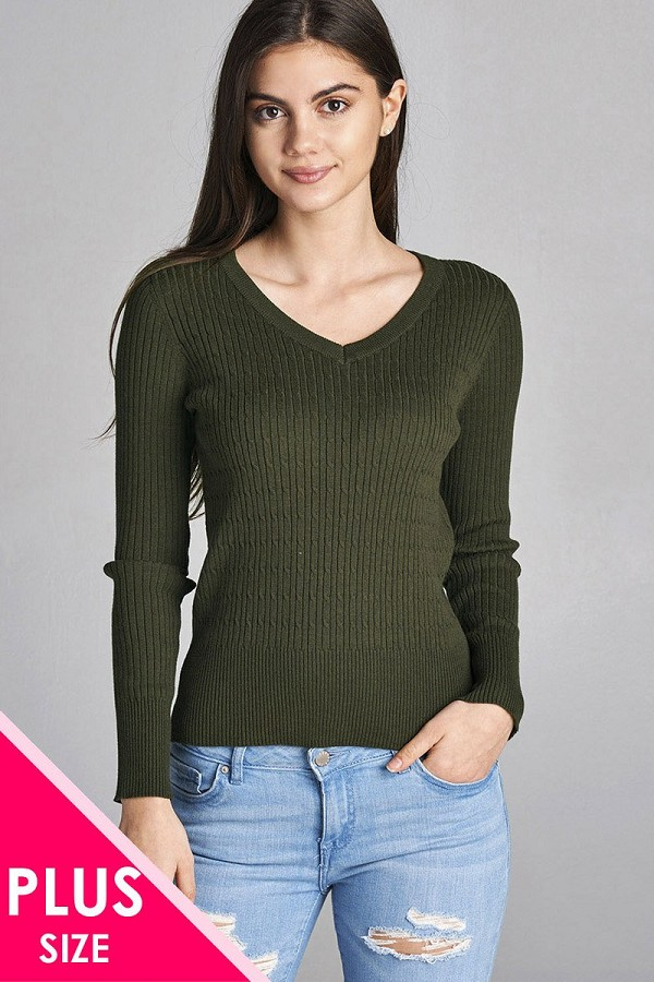 Plus Size Long Sleeve V Neck Cable Knit Classic Sweater Id34029r