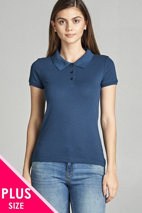 Ladies fashion plus size classic pique polo top-id.CC34289r
