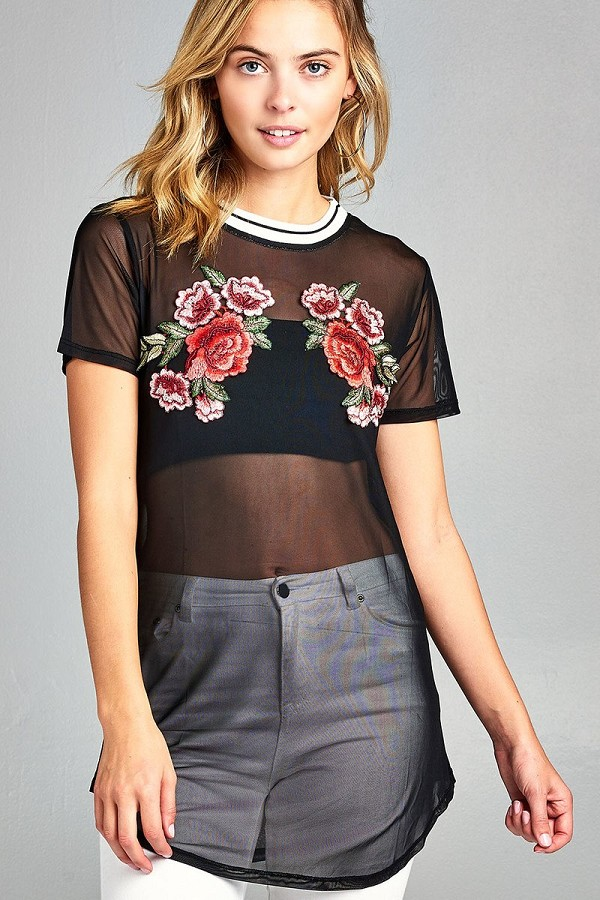 Ladies fashion  short sleeve w/contrast rib neck floral patched mesh top-id.CC34421