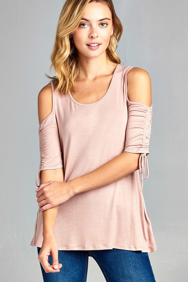 Ladies fashion cold shoulder w/seeve bow tie round neck rayon spandex top-id.CC34423e