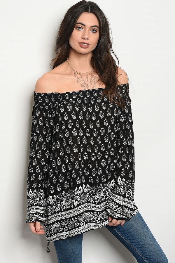 Ladies fashion long sleeve multi print off the shoulder blouse-id.CC34432