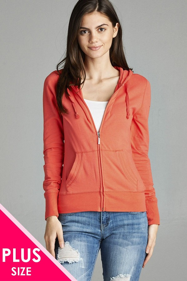 Ladies fashion plus size full zip-up closure hoodie w/long sleeves and lined drawstring hood-id.CC34447