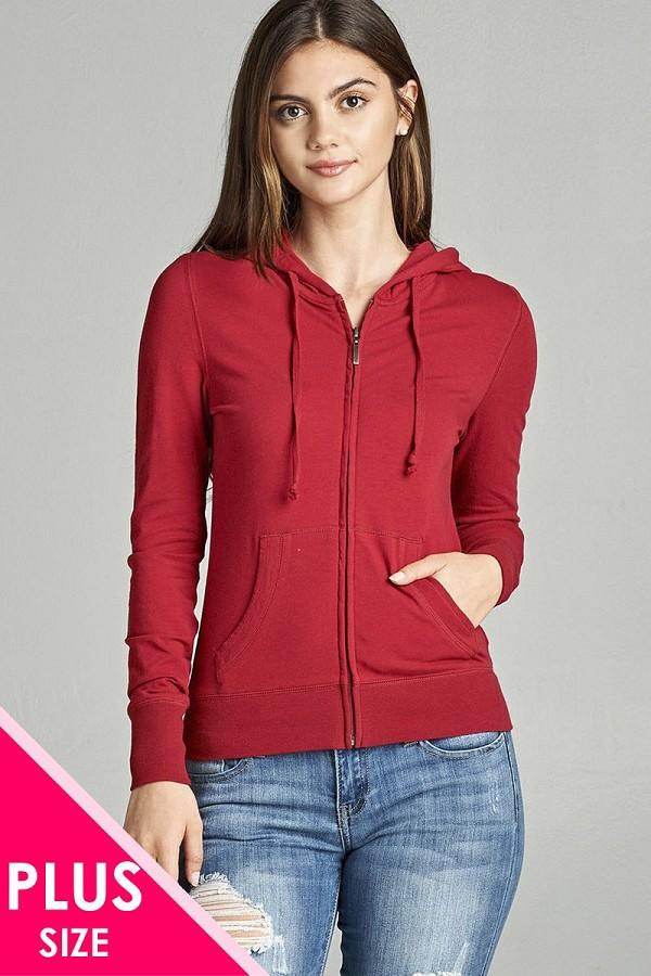 Ladies fashion plus size full zip-up closure hoodie w/long sleeves and lined drawstring hood-id.CC34447d