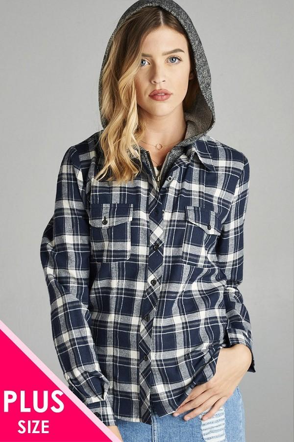 4f96136d578 Ladies fashion plus size long sleeve two tone terry mixed hoodie plaid shirt -id.CC34551
