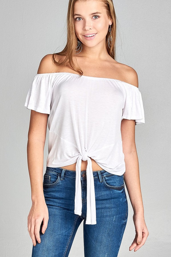 Ladies fashion short sleeve off the shoulder front bow tie rayon spandex top-id.CC34559f