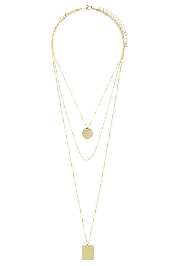 Square and circle disks multi layer necklace-id.CC34569