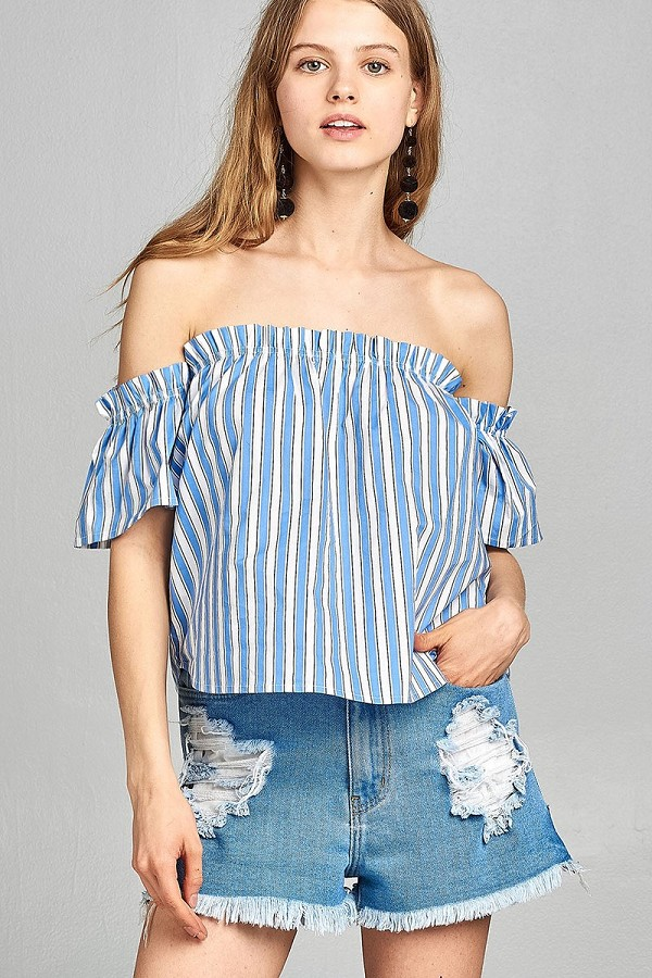 Ladies fashion short sleeve off the shoulder multi stripe top-id.CC34646
