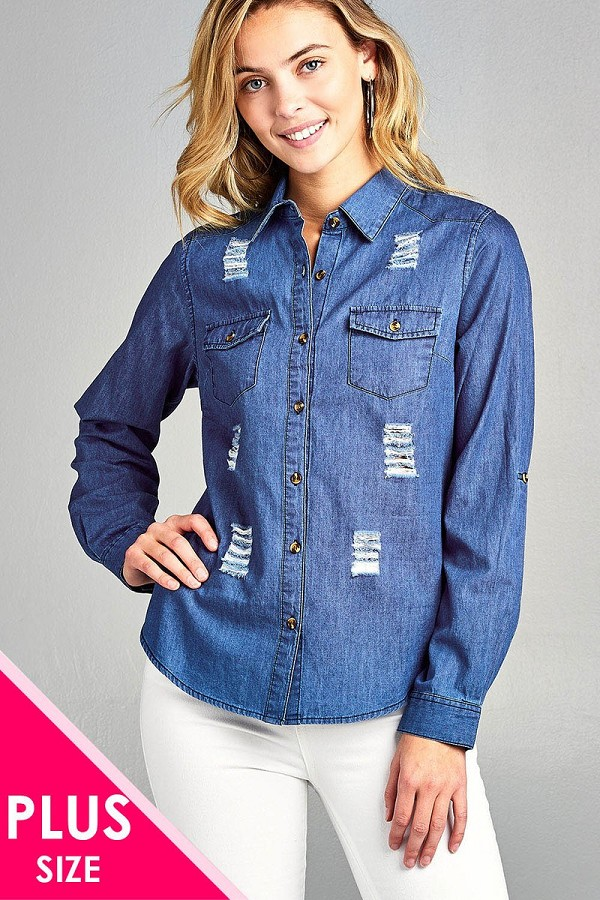 Ladies fashion plus size 3/4 roll up sleeve distressed chambray shirts-id.CC34668