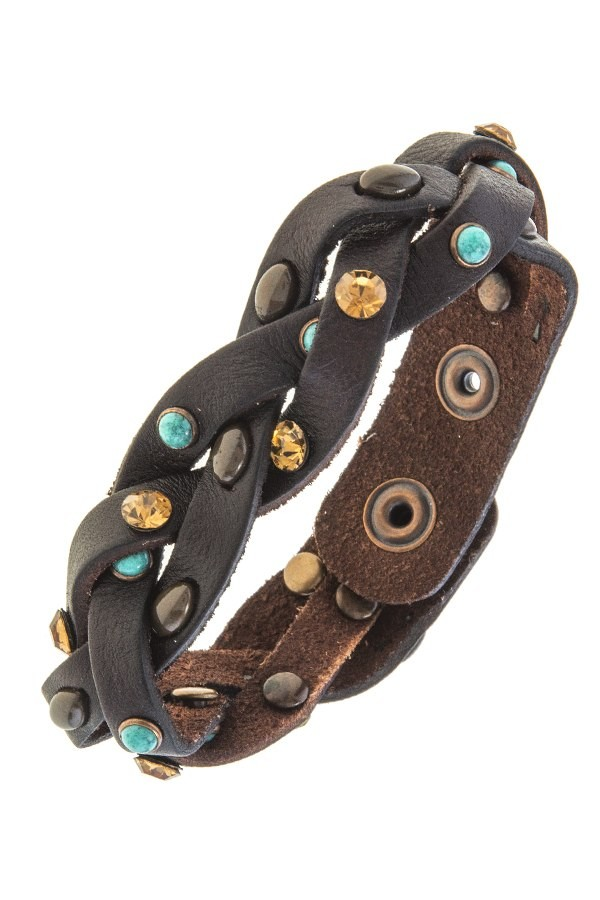 Braided faux leather band bracelet-id.CC34677
