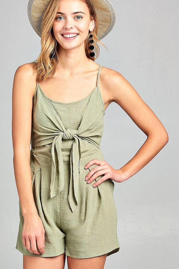 Ladies fashion sleeveless cami scoop neckline knotted with smocked back cotton slub romper-id.CC34689