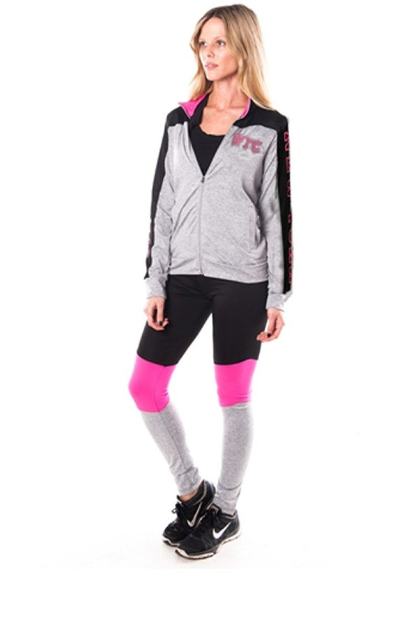 Ladies fashion new york logo active sport yoga / zumba 2 pc set zip up jacket & leggings outfit-id.CC34876f