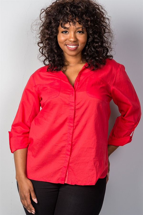 Ladies fashion plus size red roll-sleeve plus size top-id.CC34925