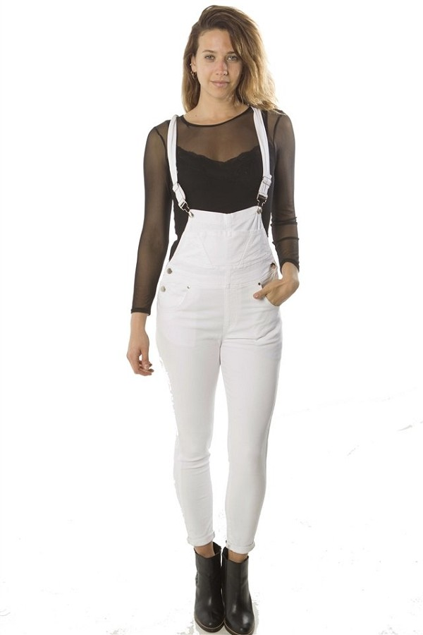 Ladies fashion overall fitted twill, light stretch, adjustable strap & pockets-id.CC34935