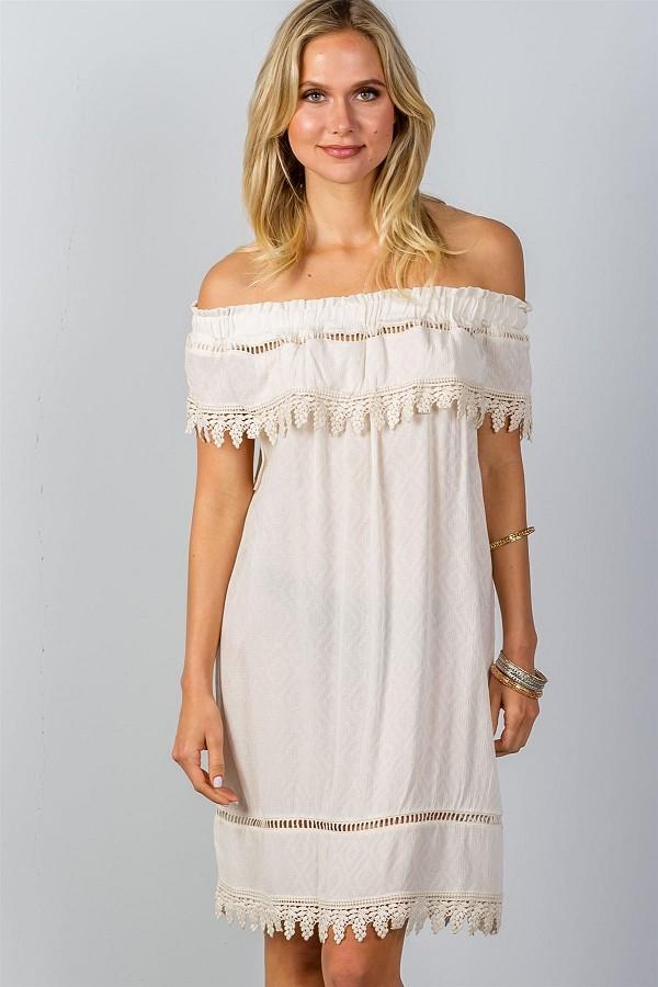 94b0b58764e Ladies fashion boho ivory elastic off shoulder crochet trim mini dress ...