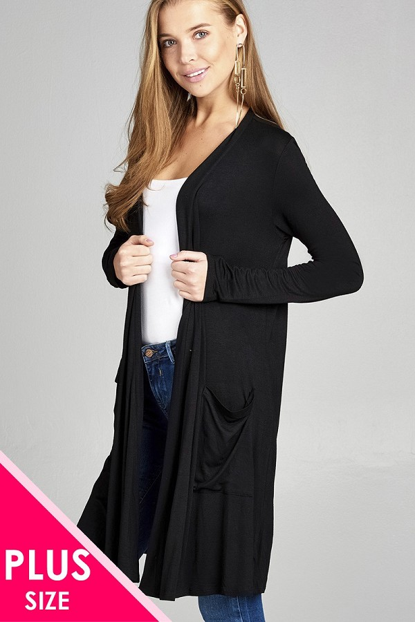 Ladies fashion plus size long sleeve open front w/pocket long length rayon spandex cardigan-id.CC34974