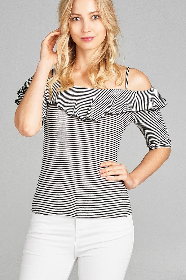 Ladies fashion elbow sleeve open shoulder w/ruffle stripe ribbed cotton spandex top-id.CC35137