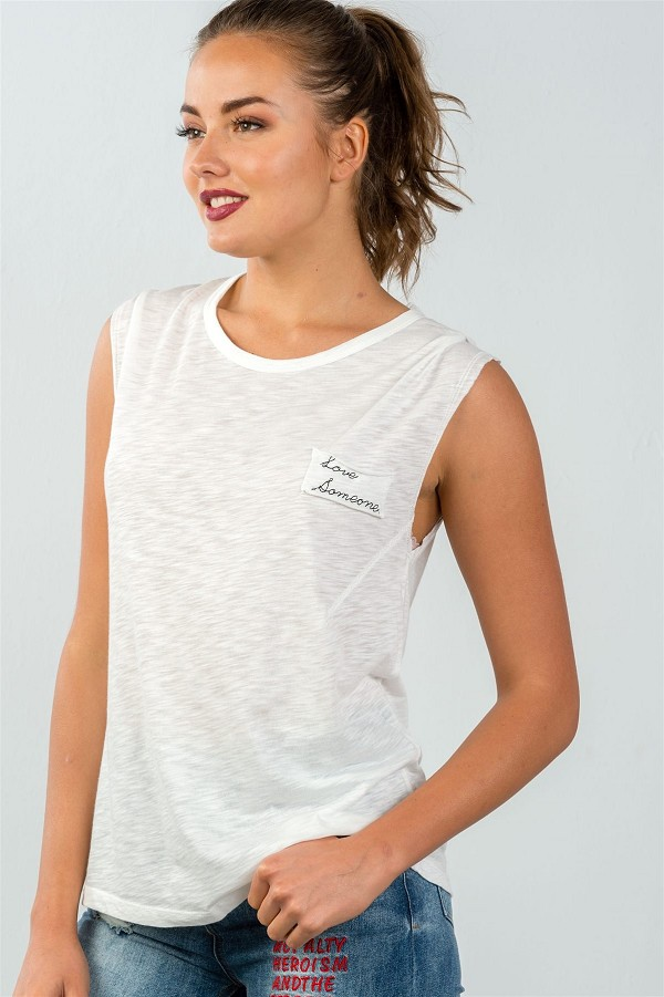 "Ladies fashion round neckline ""love someone"" graphic side flowy tee-id.CC35305a"