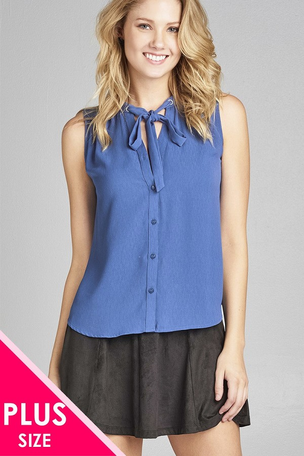 Ladies fashion plus size sleeveless v-neck self tie w/eyelet detail front button woven top-id.CC35314b