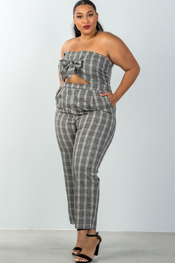 Ladies fashion plus size bow detail at front strapless jumpsuit palazzo pants-id.CC35319