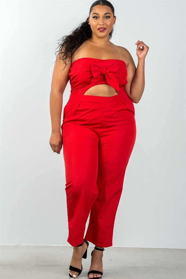 Ladies fashion plus size bow detail at front strapless jumpsuit palazzo pants-id.CC35321