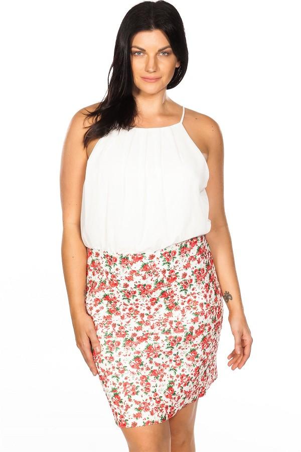 Ladies Fashion Plus Size Floral Print Color Block Elastic Bandage